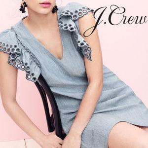 J CREW Chambray Ruffle-Shoulder Dress 2P NIP